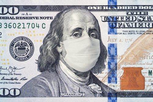 100 dollar bill with facemask